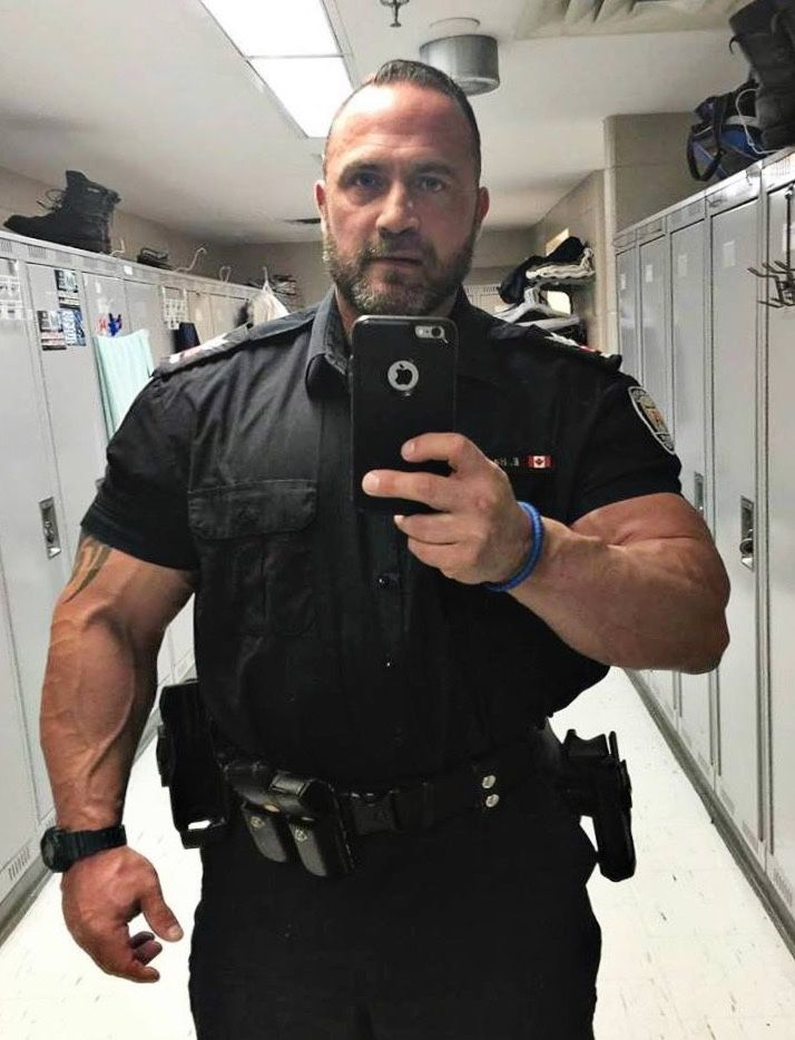 muscle men in uniforms Black