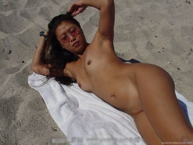 beach nude Asian wife