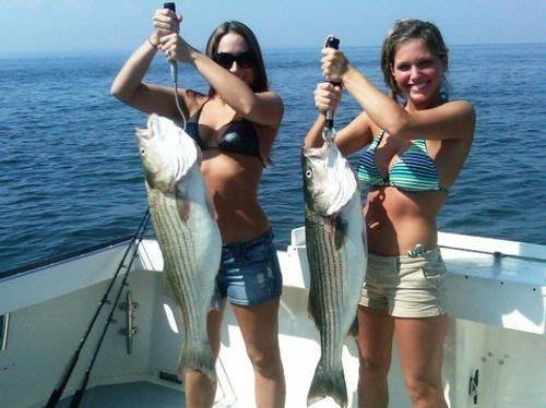 on boat Girls party fishing