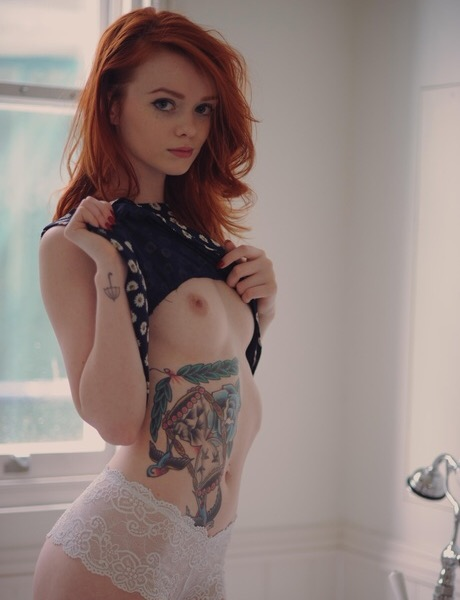 tattoos Girls porn with redhead