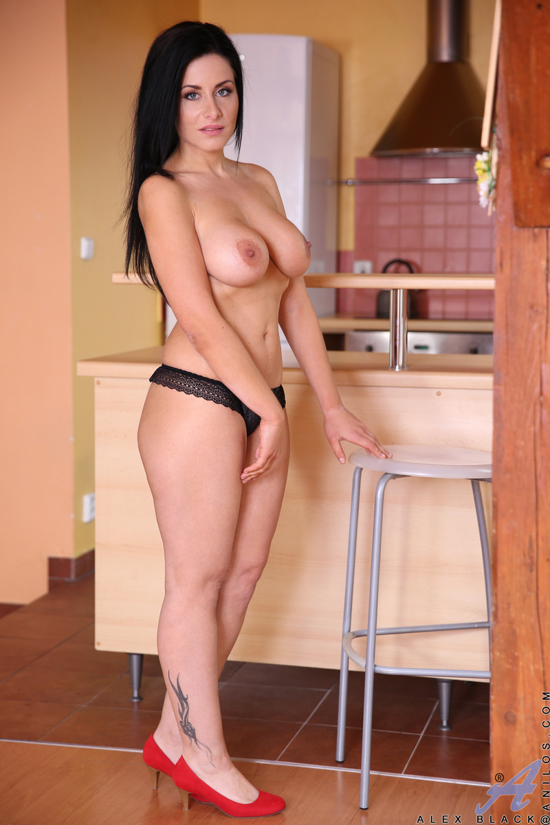in Sexy naked mature the kitchen women