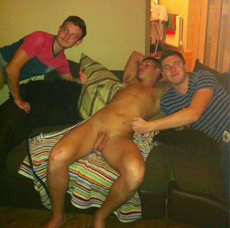 naked passed Drunk boys out