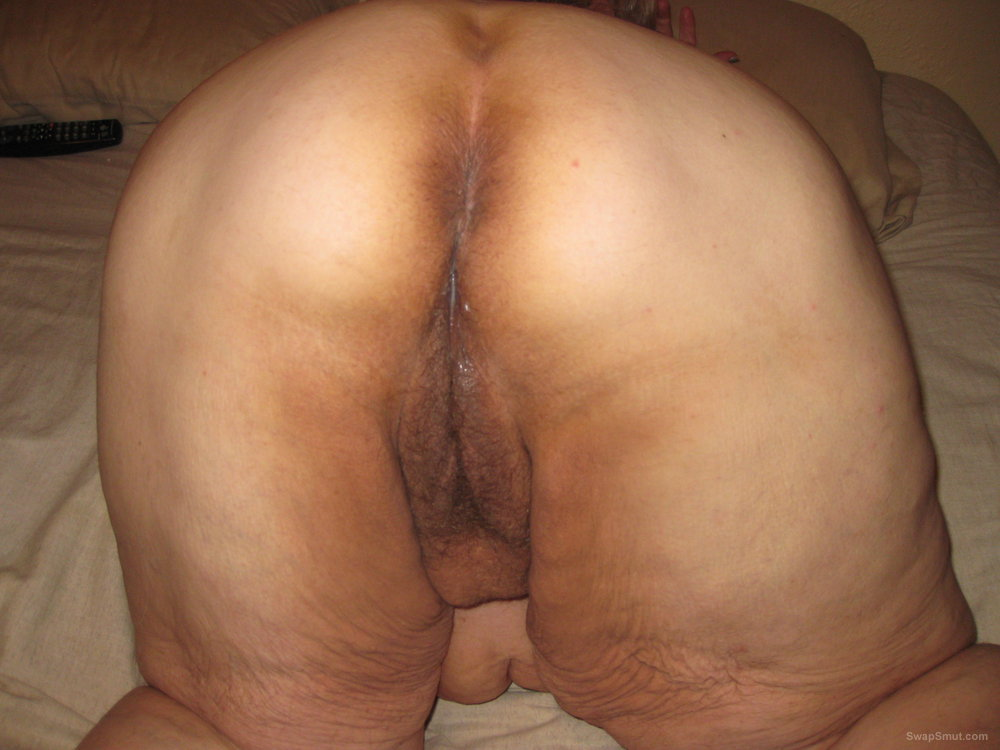 over pussy Mature bent hairy milf