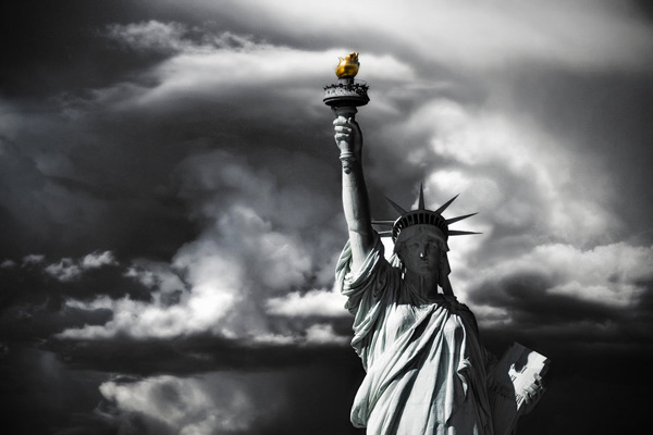 white and Statue of liberty photography black