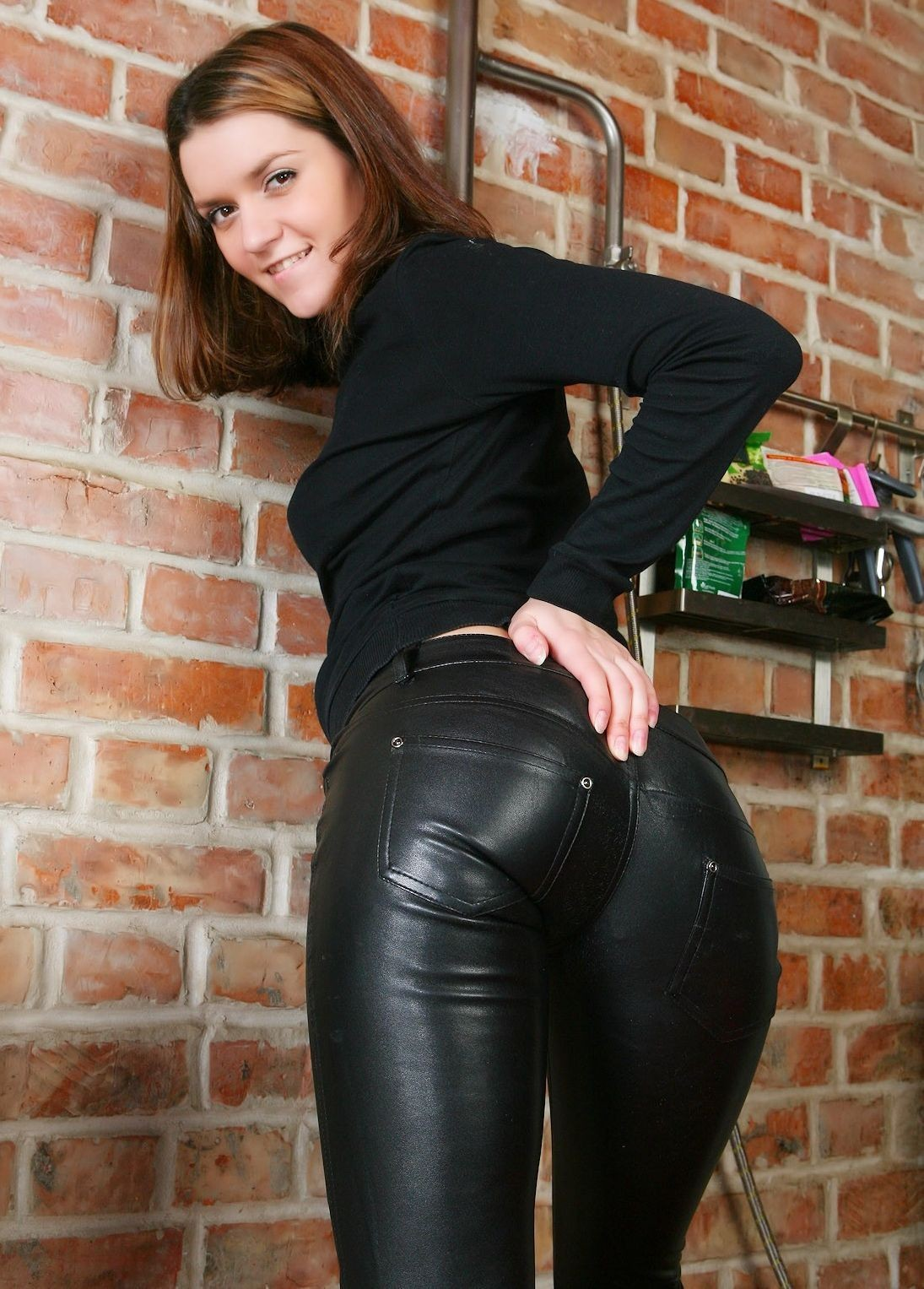 pants tight Hot girl leather