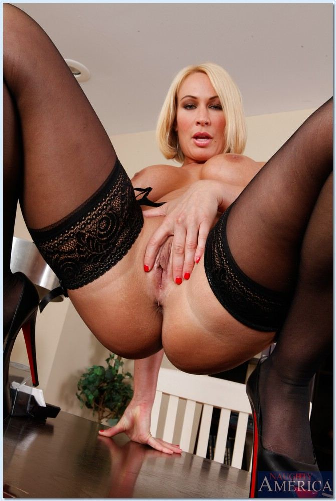 black Monroe stockings blonde
